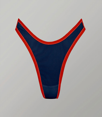 # darkblue high waist dipped front thong