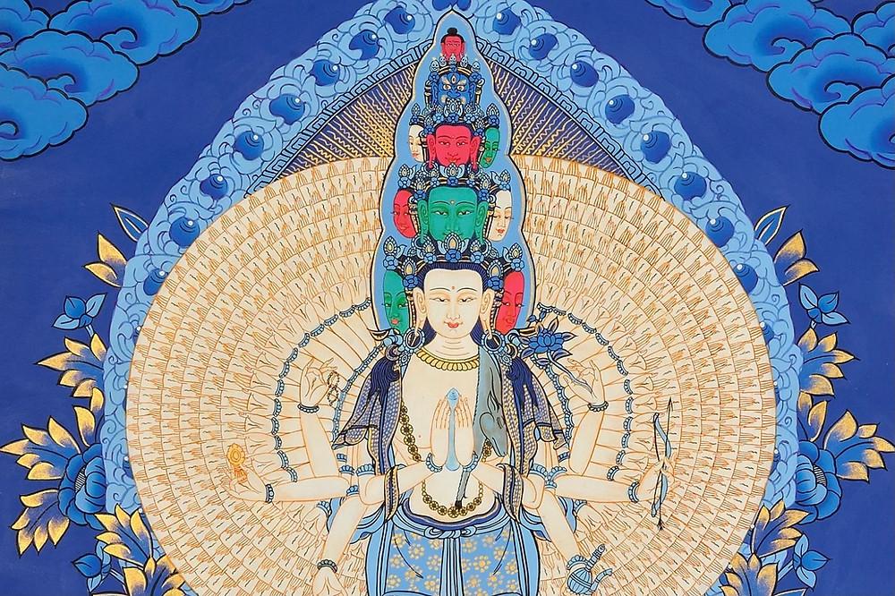 Chenrezig Avalokiteshvara - Bodhisattva of Compassion Dalai Lama Deity Magical God with thousand eyes and ears