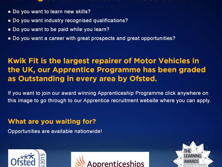 Kwik Fit are hiring apprentices!!!