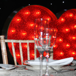 Heart with red lamps