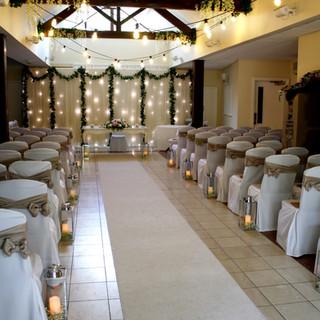 White Aisle Carpet, Starcloth, & Lantern