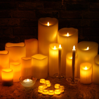 Real Wax LED Candles In The Dark
