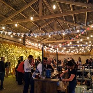 Festoons & Fairy Lights In Barn