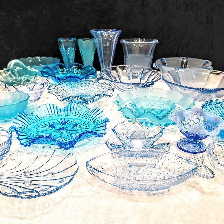Mixed Blue Art Deco Glassware.jpg
