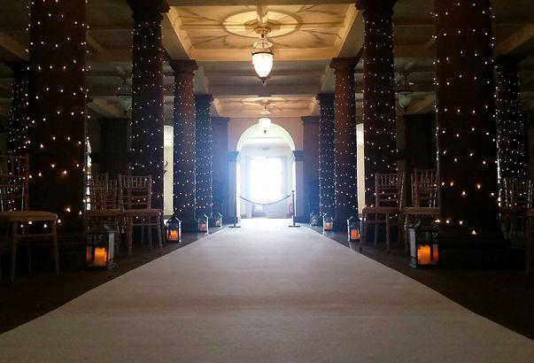 White Aisle Carpet, Fairy Lights, & Lant