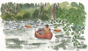 Packrafting across the Tenakee River