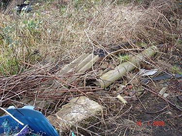 Discarded asbestos cement sheets and pipes in Porthcawl, Bridgend, confirmed by bulk sampling, 2008