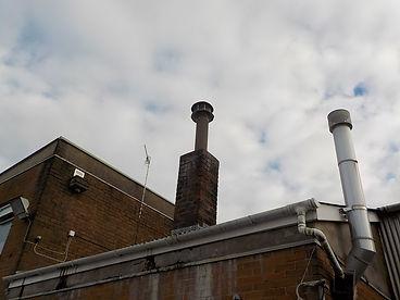 Asbestos cement flue from an asbestos management survey in Llanelli, Carmarthenshire, 2016
