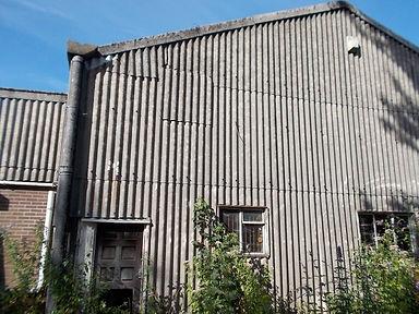 Asbestos cement wall cladding & rainwater goods from an asbestos demolition survey in Pontardawe, Neath Port Talbot,2014