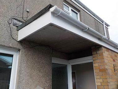 Asbestos cement porch ceiling from an asbestos refurbishment survey in North Cornelly, Bridgend, 2016