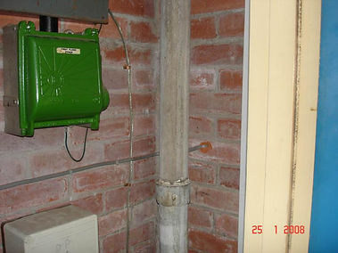 Asbestos cement downpipe from a Type 2 asbestos survey in Margam, Neath Port Talbot, 2008