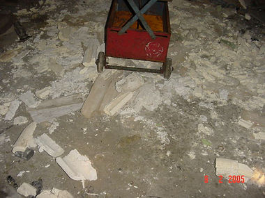 Asbestos pipe lagging, extensively damaged, from a Type 3 asbestos survey in Brynmawr, Blaenau Gwent, 2005