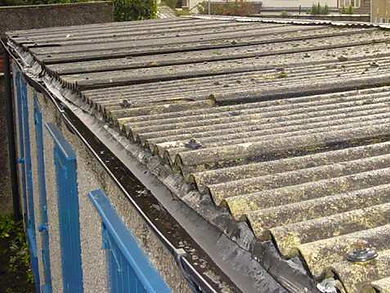 Asbestos cement garage roof sheets in Whitchurch, Cardiff, confirmed by bulk sampling, 2004