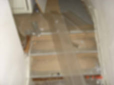 Asbestos-reinforced stair nosing from a Type 3asbestos survey in Llanelli, 2005