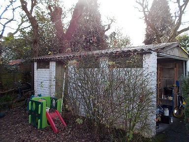 Asbestos cement garage roof sheets in Cyncoed, Cardiff, confirmed by bulk sampling, 2014