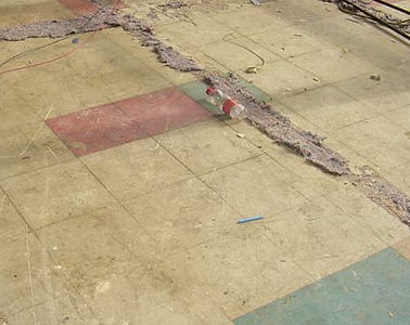 Asbestos-containing floor tiles from a Type 3 asbestos survey in Cwmbran, 2005