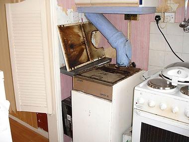 Asbestos cement boiler flue in Wildmill, Bridgend, confirmed by bulk sampling, 2006