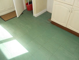 Asbestos-containing floor tiles in Beddau, Pontypridd