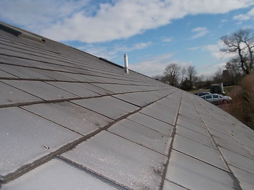 Asbestos-containing roof tiles from an asbestos management survey in Corntown, Nr Bridgend, Vale of Glamorgan, 2016