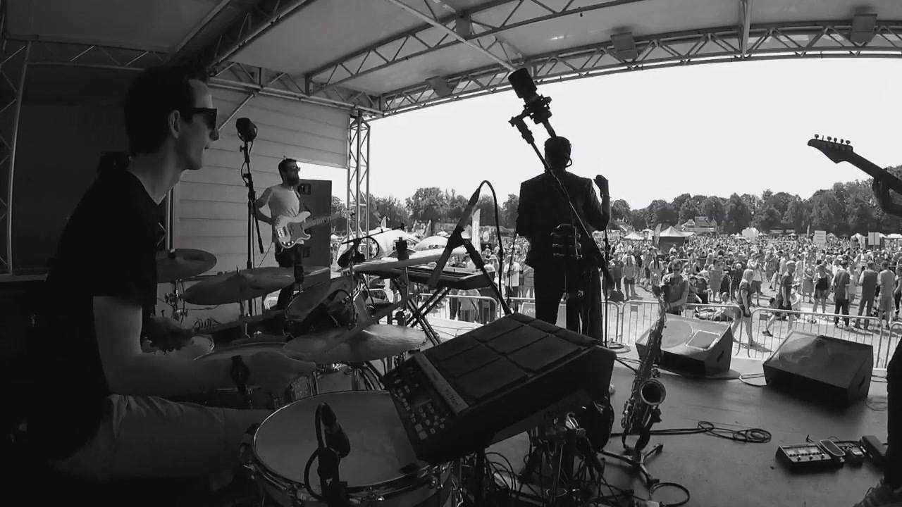One from a recent gig at #Sheffield Hillsborough park ☀️ Ben Clark going to town on the wah 🎸 w/ Massimo Restaino & Marcus Cain