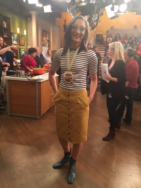 Carla Hall striped top and button down yellow skirt