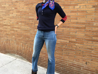 Accessorize:  jeans, and sweater and scarf