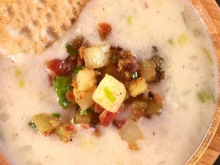 New England Clam Chowder with Johnny Cakes