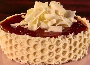 White Chocolate Cheesecake with Strawberry Jam