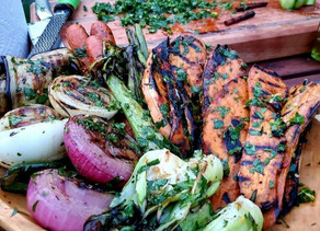 Grilled Vegetables with Cutting Board Chimichurri