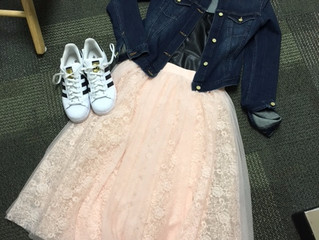 Ballerina skirt and denim jacket