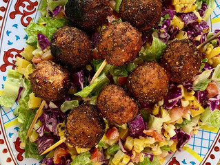 Backyard BBQ Chopped Salad with Grilled Plant-Based Meatballs
