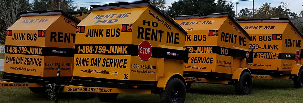 6-yard Junk Bus America's Dumpster Rental on Wheels, junk removal, roll off dumpster, junkguysnola, junkguys new orleans