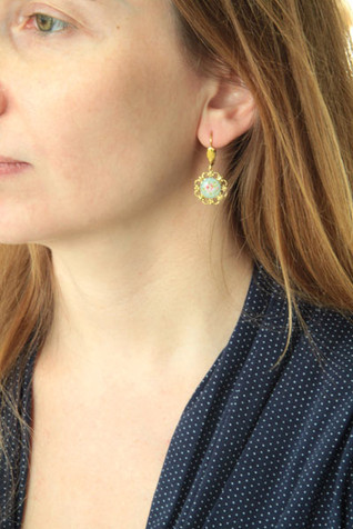 Gold and Blue Earring