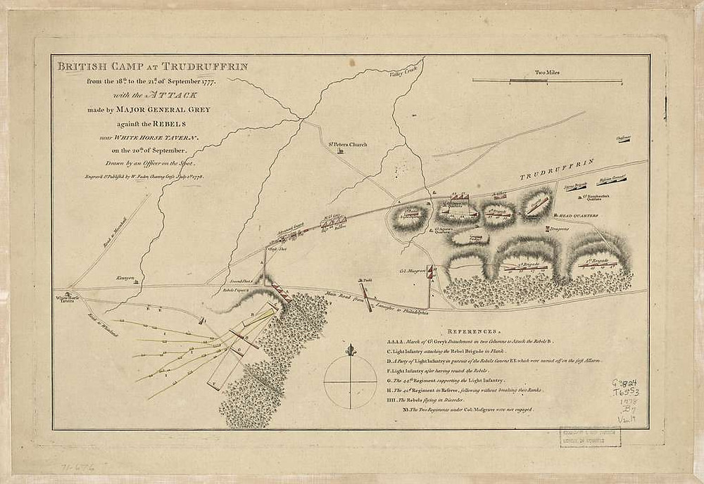 Library of Congress - British camp at Trudruffrin from the 18th. to the 21st. of September 1777, with the attack made by Major General Grey against the rebels near White Horse Tavern on the 20th. of September.
