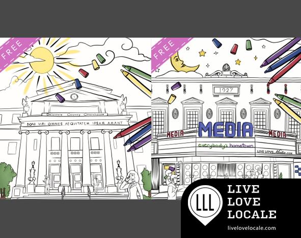 The Media Coloring Book, provided by LiveLoveMedia,celebrates the magic of Media, Pennsylvania – Everybody's Hometown.