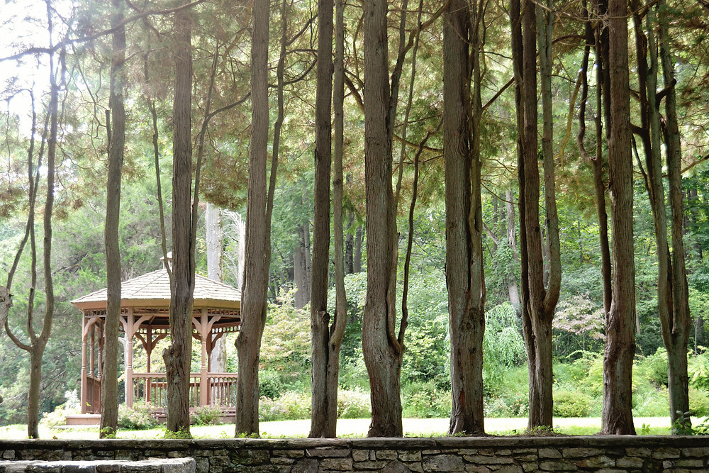 Peer through the stately lined trees to glimpse the gazebo at Hunting Hill Mansion located in Media PA's Ridley Creek State Park.