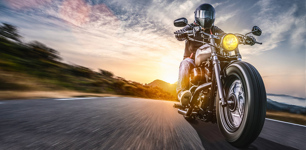 motorbike on the road riding. having fun driving the empty highway on a motorcycle tour jo...xt..jpg