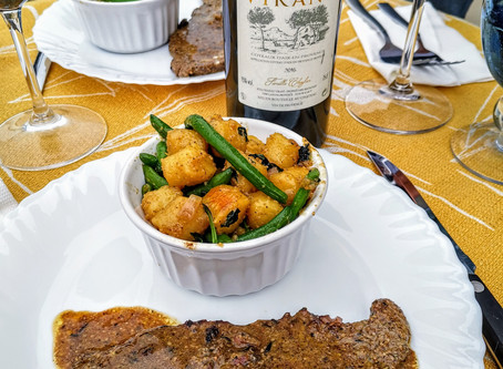 Pan seared truffle steak & basil gnocchi with sauteed green beans