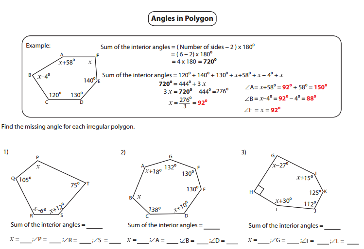 Interior And Exterior Angles Of Polygons Worksheet Stinksnthings