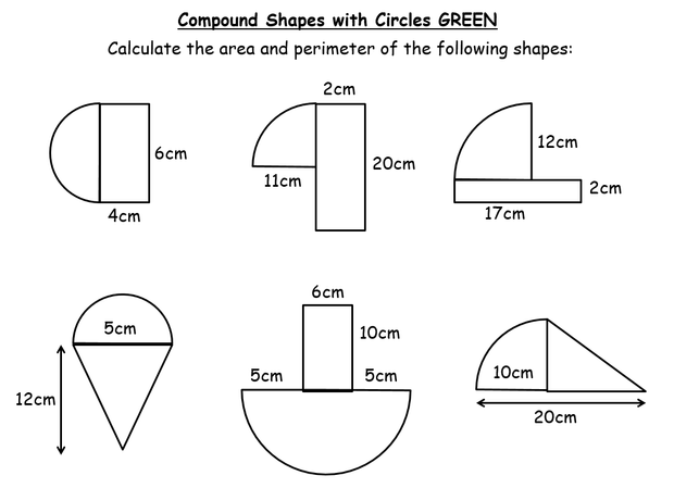 Area of 2D Shapes – Compound Area Worksheet