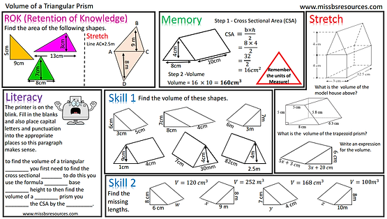 Volume – Volume of a Prism Worksheet