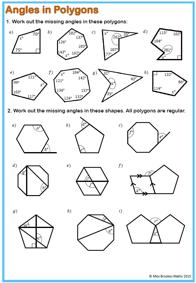 Printables Interior And Exterior Angles Of Polygons Worksheet angles and polygons miss brookes maths
