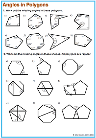 Interior and exterior angles of polygons worksheet tes