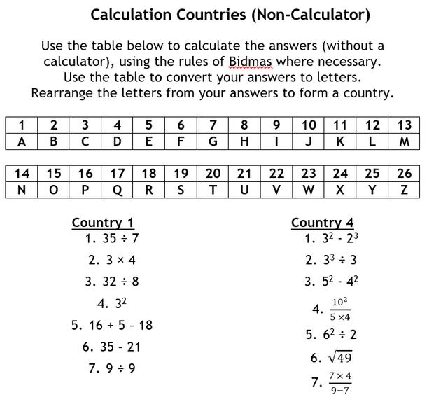 Using a Calculator – Calculator Worksheets