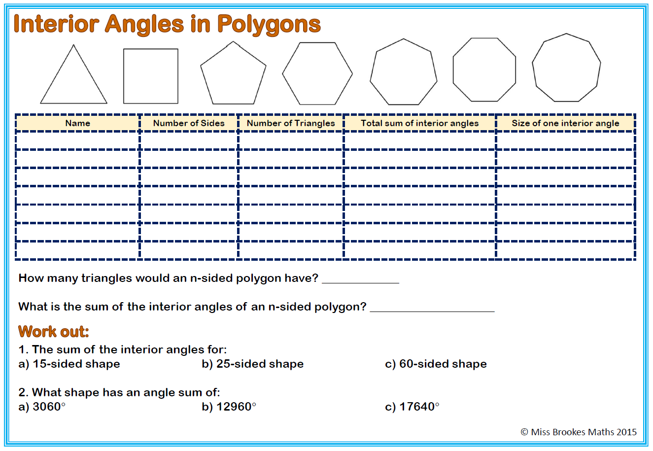 Mathworksheets4kids Sum Of Interior Angles Answers Worksheet Triangle Sum And Exterior Angle