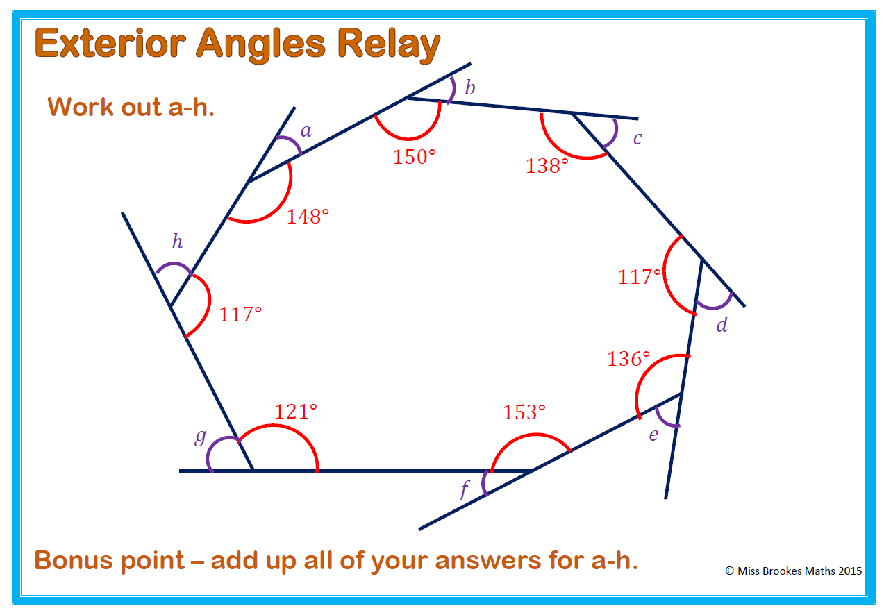 worksheet Angles Of Polygons Worksheet angles and polygons miss brookes maths the winning team will have all calculated added them up before anyone else alternatively you could display it on board ask pupils to