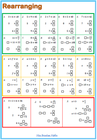 Printables Rearranging Formulas Worksheet rearranging formulae miss brookes maths i liked the worksheet that went with this but needed something a bit slower so made my own separated into 3 sections starting number