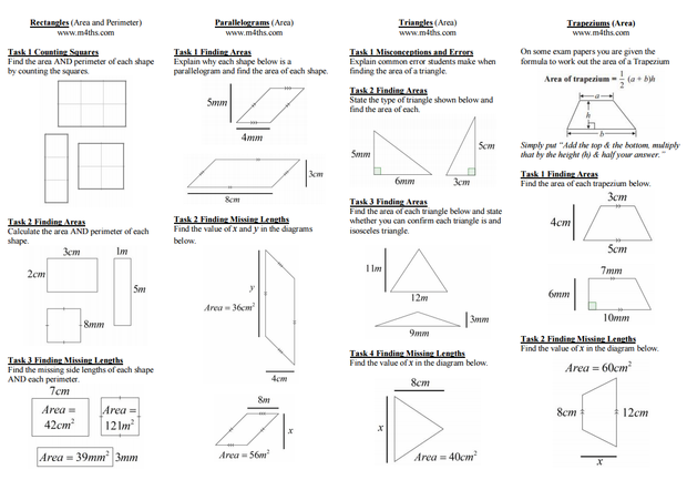 Area of 2D Shapes – Area and Perimeter of Composite Figures Worksheet