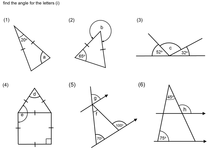Printables Missing Angles In Triangles Worksheet angles in triangles and quadrilaterals miss brookes maths