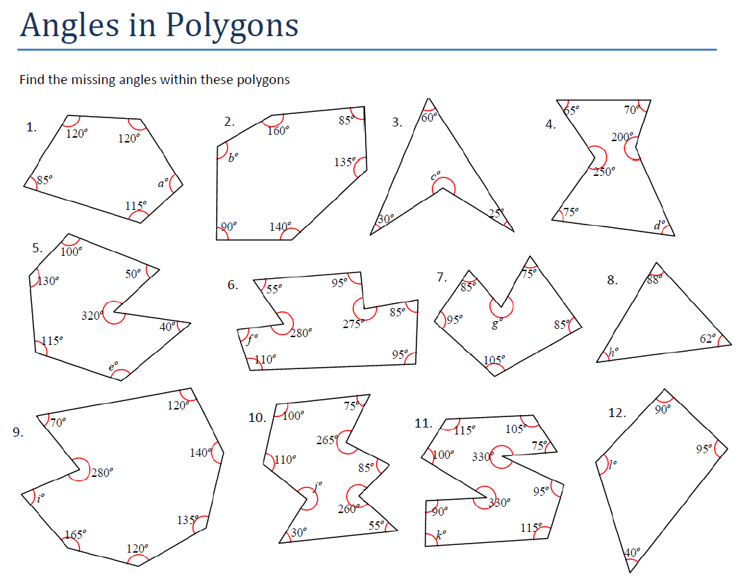 Angles and Polygons – Missing Angle Worksheet